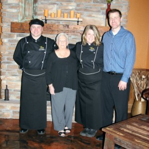Tesora's chef, John, with Woodland Trails' innkeeper Sandra and Tesora owners Holly and Jake Mangelsen
