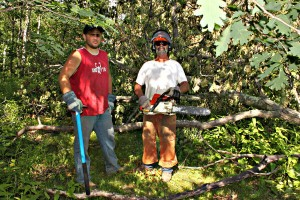 men with axes and chainsaw