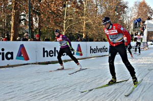 cross country skiiers in competition