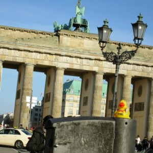 a-Rubber Duckie in front of a famous gagte